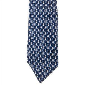 Hermès Blue Owl Printed Silk Tie